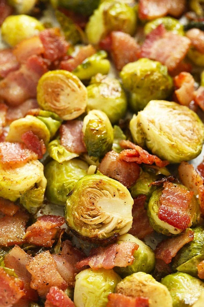 golden brown brussels spouts with bacon