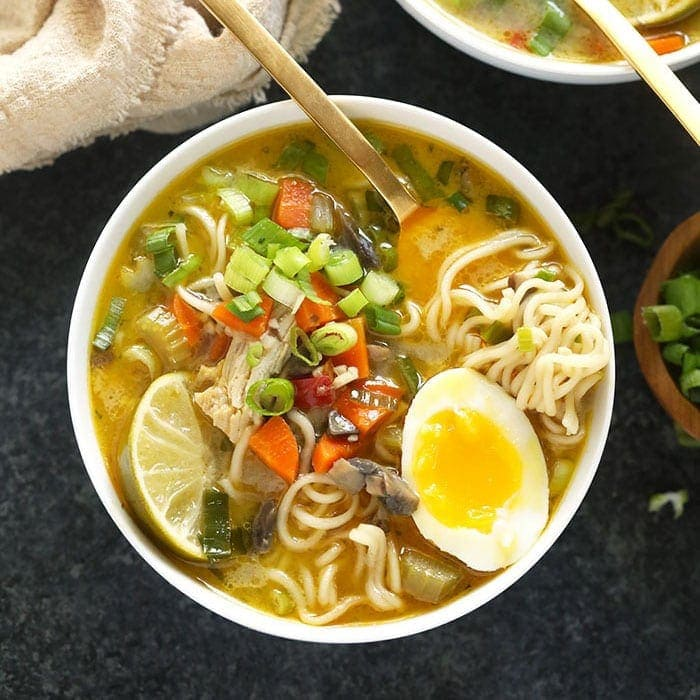 asian chicken noodle soup in a bowl