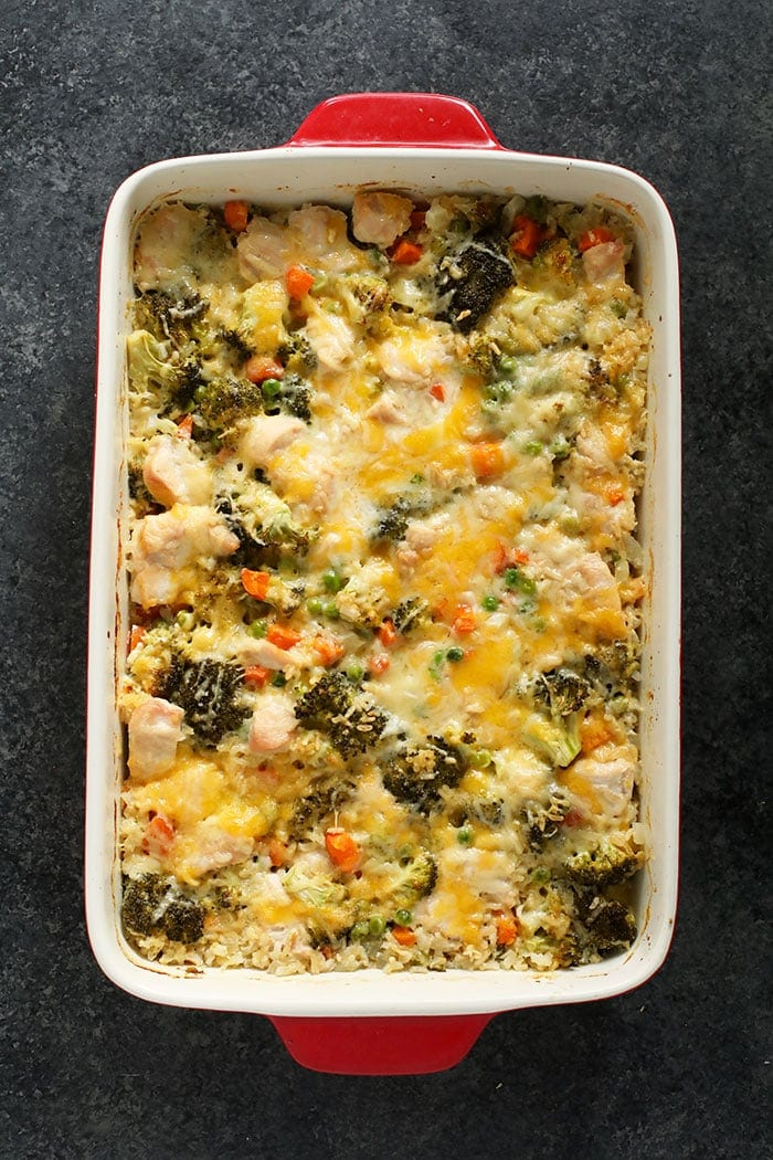 chicken and rice casserole in red pan
