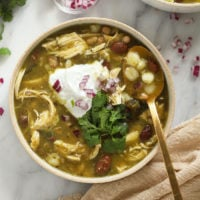 bowl of green chicken chili
