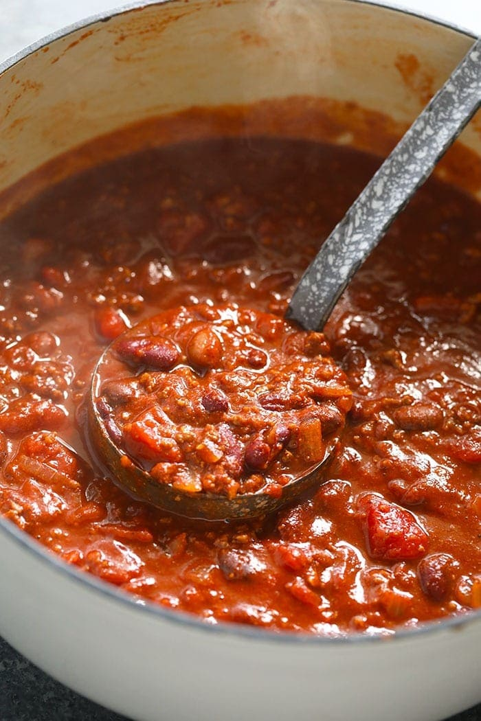 stockpot of the best chili recipe