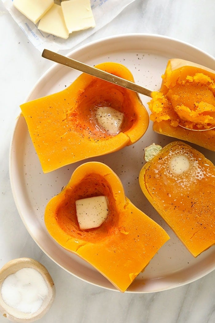 Cooked butternut squash with butter