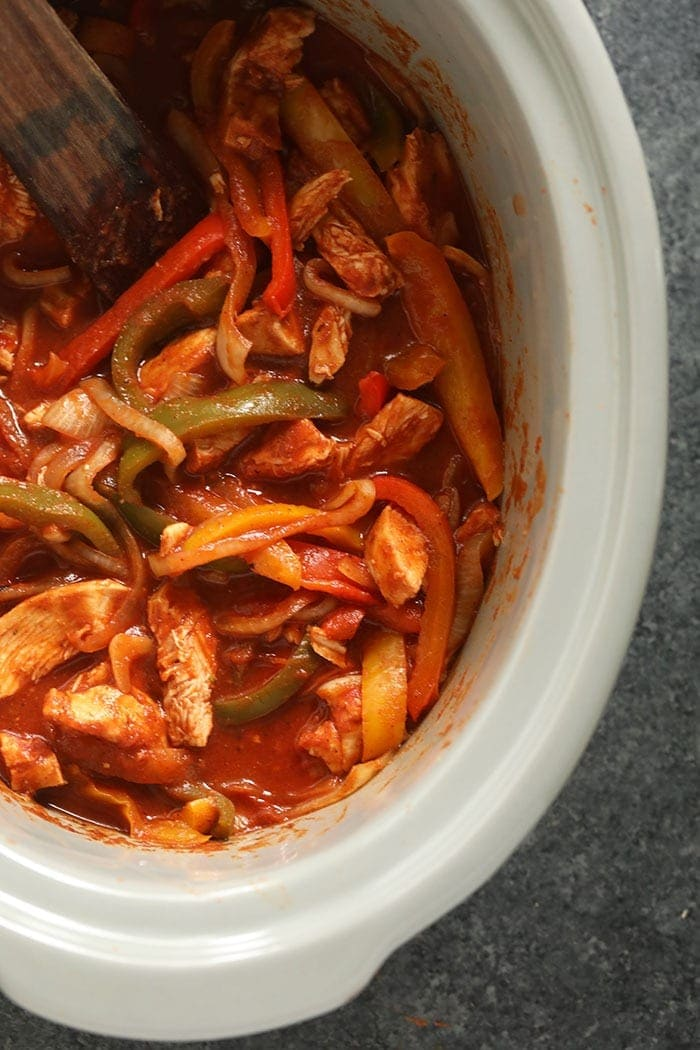 crockpot chicken fajitas ready to be served
