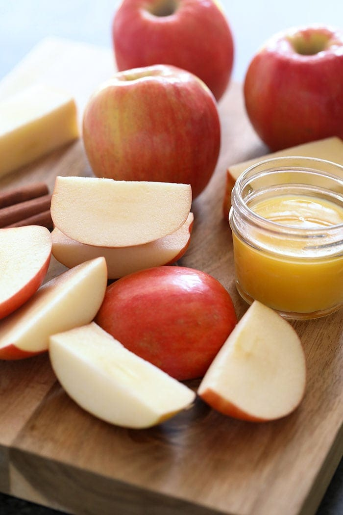 sliced apples and orange juice