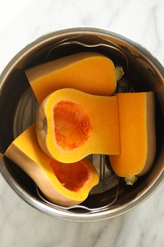 butternut squash halves in an Instant Pot