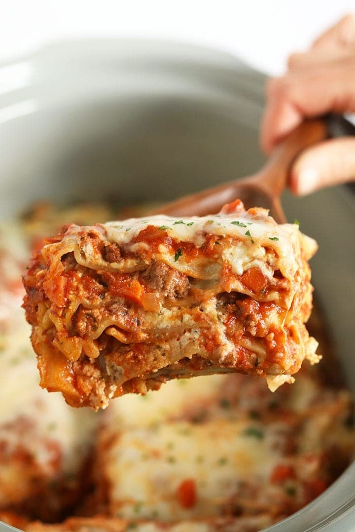 A piece of lasagna on a spatula
