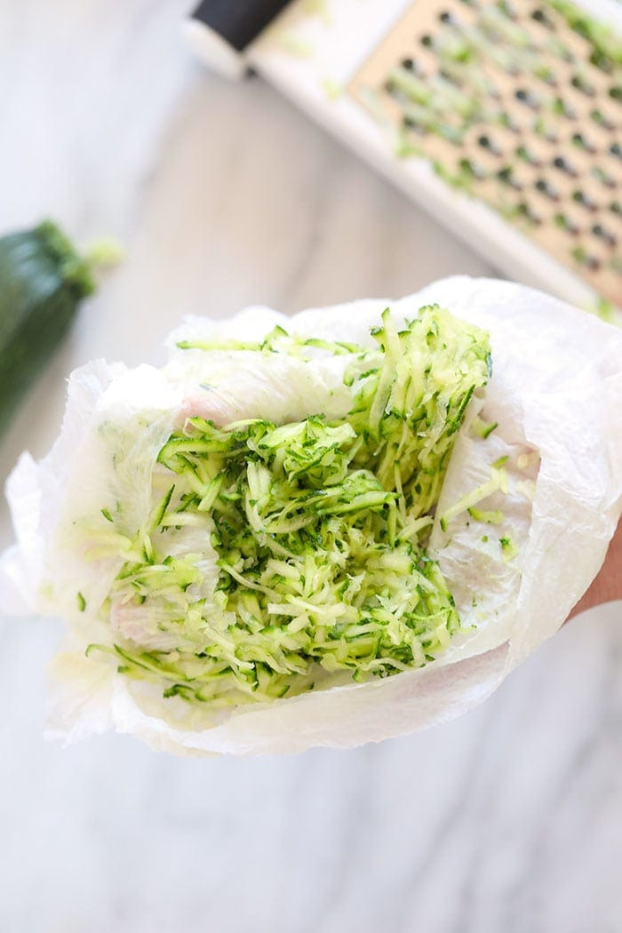 how to remove the moisture from shredded zucchini