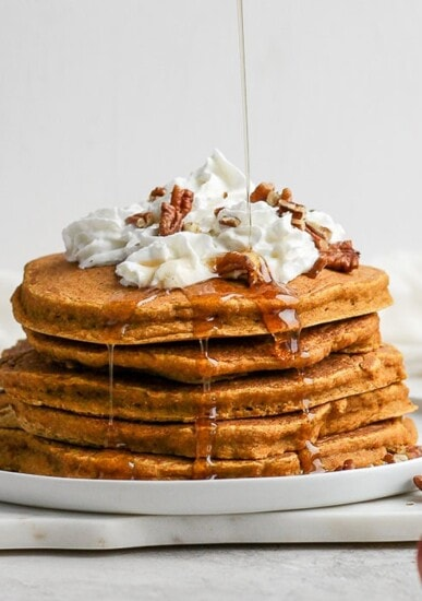 healthy pumpkin pancakes on plate