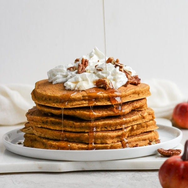 healthy pumpkin pancakes on plate