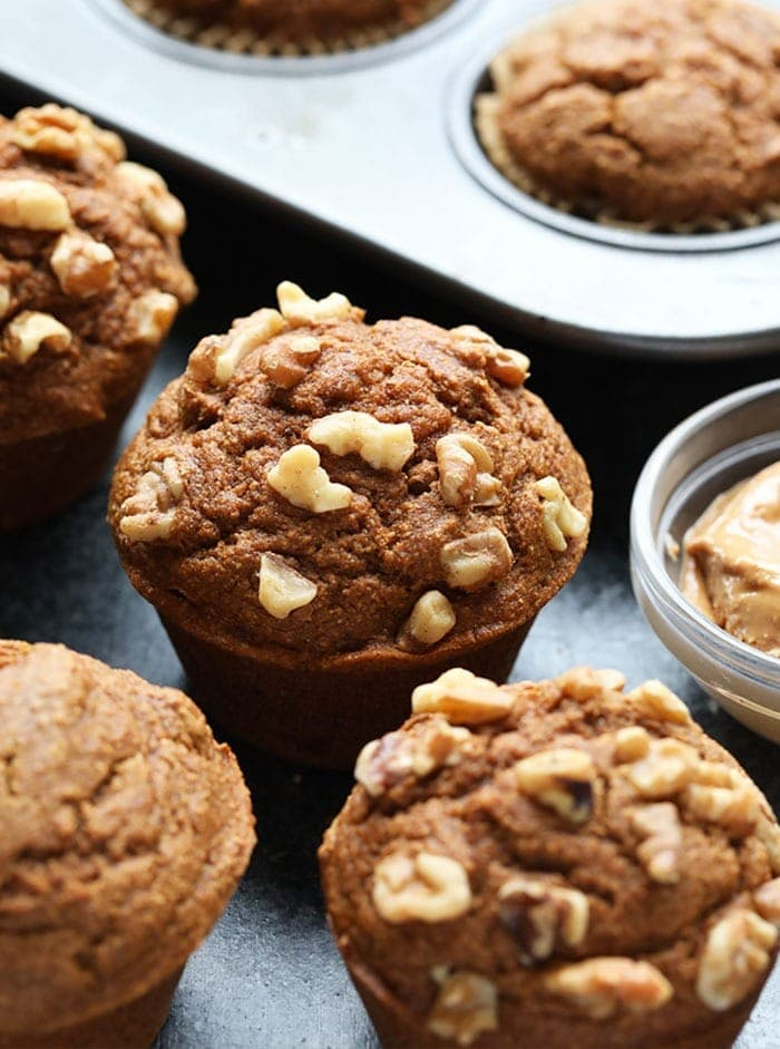 healthy pumpkin muffins on the counter top