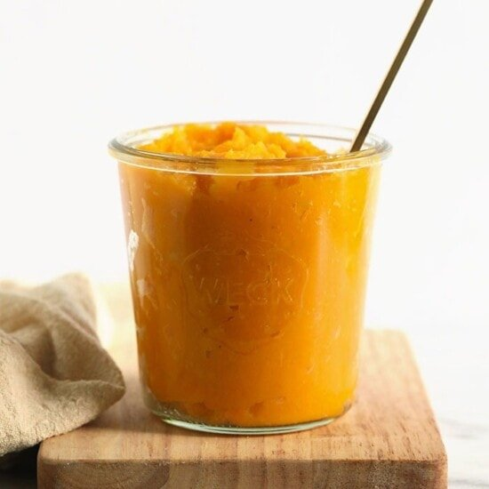 butternut squash puree in a jar