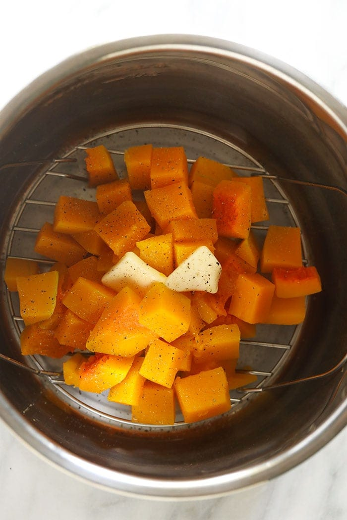 Cooked butternut squash in an Instant Pot