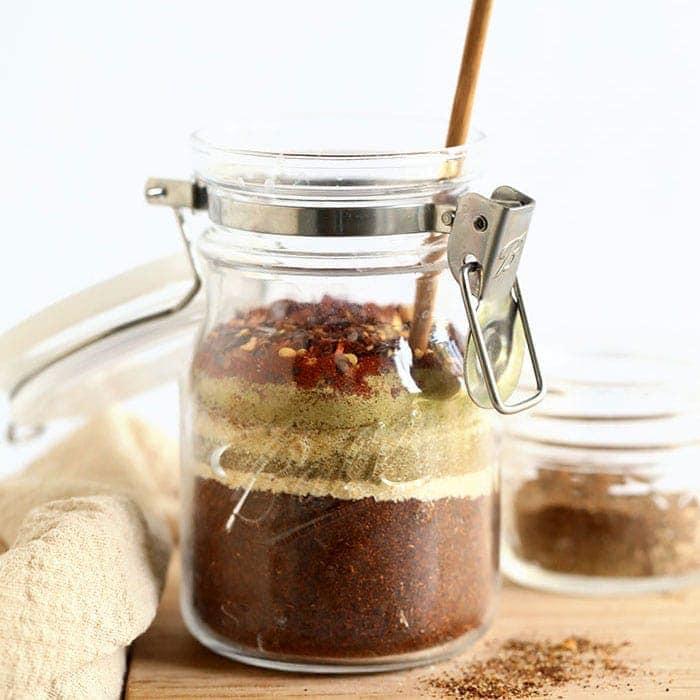 homemade taco seasoning in a jar