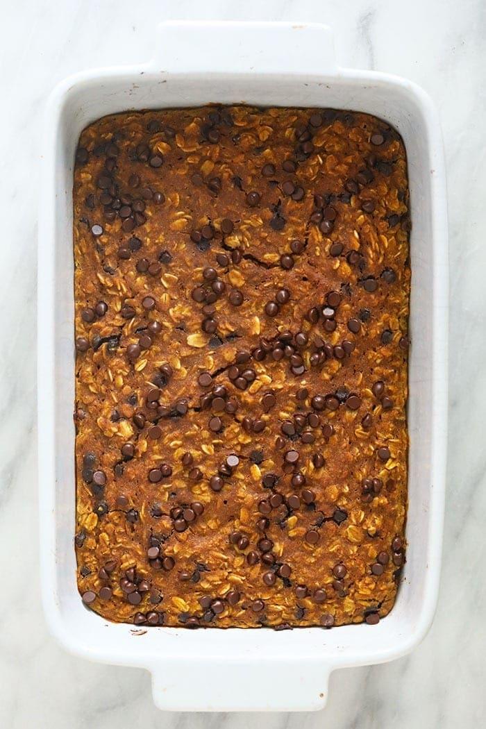 baked pumpkin oatmeal in casserole dish