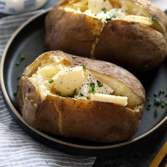 crock pot baked potatoes on a plate