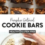 pumpkin oatmeal cookie bars pin