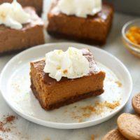 pumpkin cheesecake bar on a plate