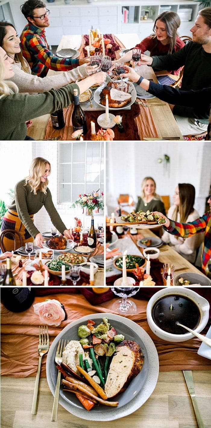 A collage of friendsgiving photos.