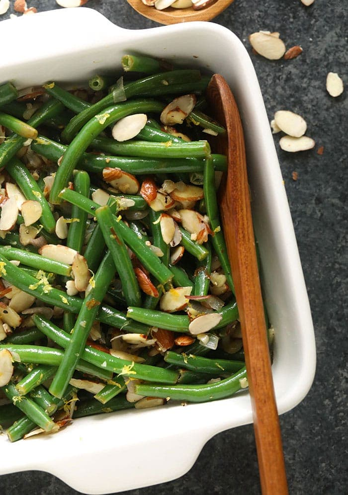green beans in casserole dish