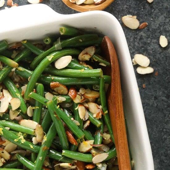 green beans in casserole dish