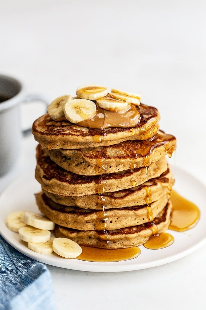 A stack of peanut butter banana pancakes