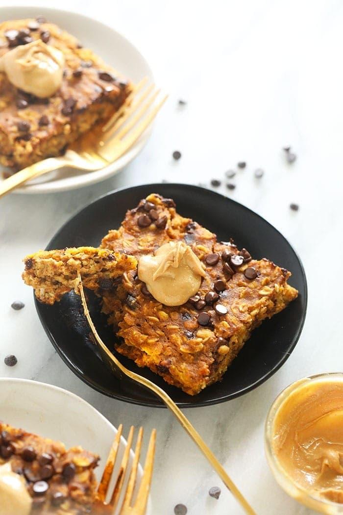 pumpkin baked oatmeal with cashew butter