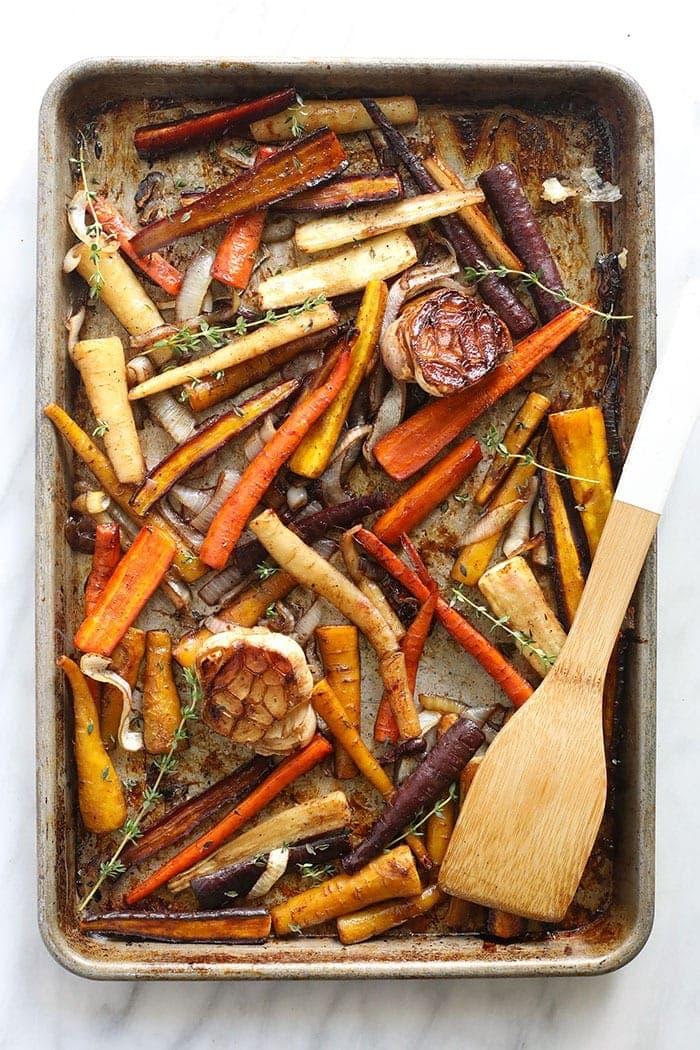roasted carrots on a baking tray