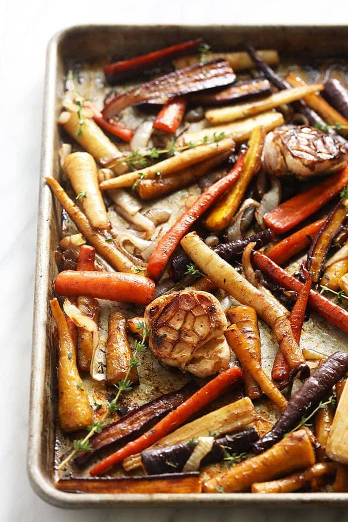 balsamic roasted carrots on a baking pan
