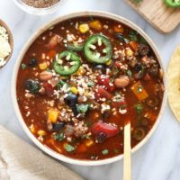 slow cooker taco soup in a bowl