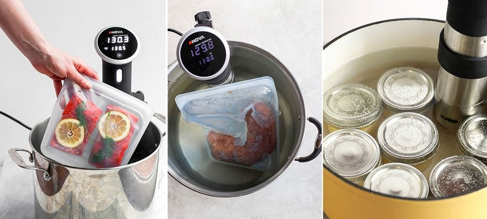 Three photos of sous vide cooking