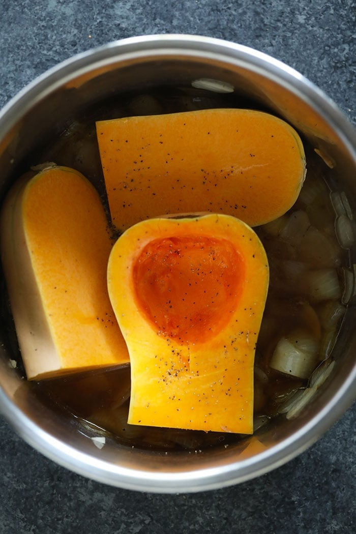 quartered butternut squash in the instant pot