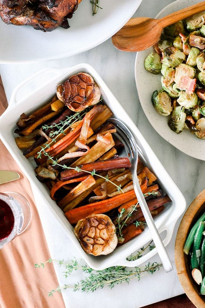 roasted carrots plated at a holiday table