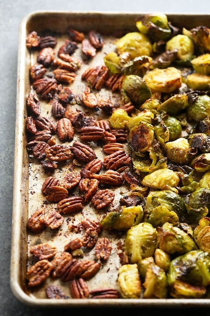 Brussel sprouts and pecans on a pan