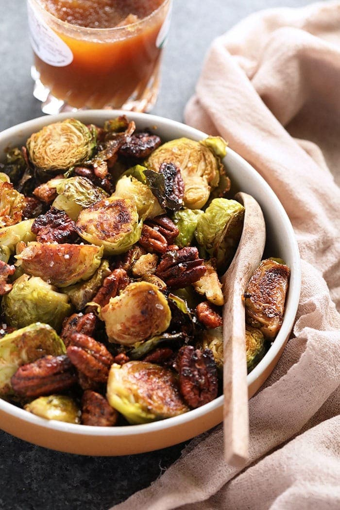 Brussel sprouts with Maple Apple butter in a bowl