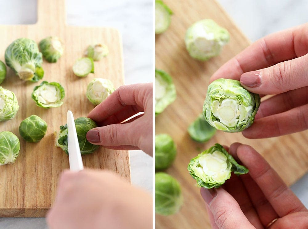slicing brussels sprouts