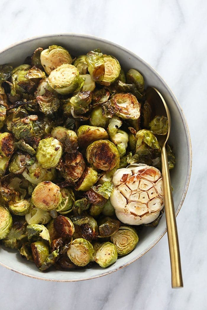roasted Brussels spouts in bowl