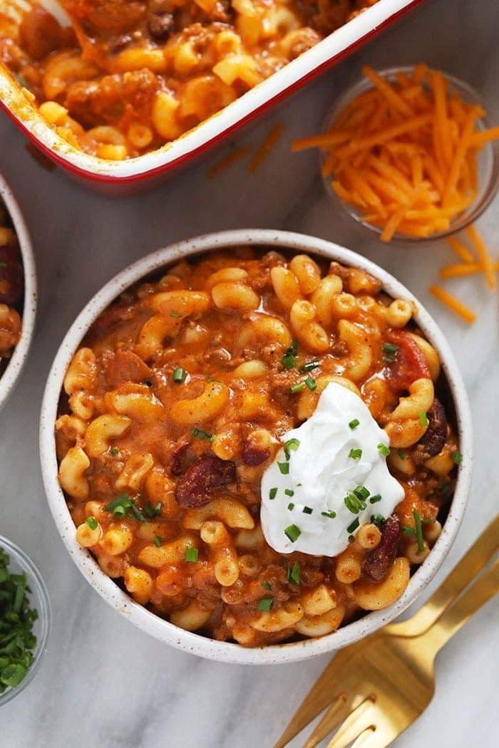 Chili Mac in a bowl