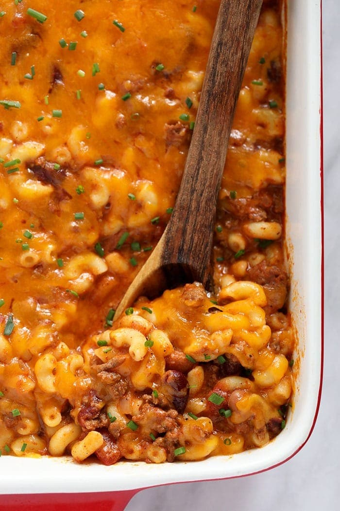 Chili mac baked and ready to eat