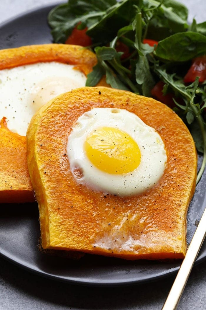 butternut squash egg in a frame on plate