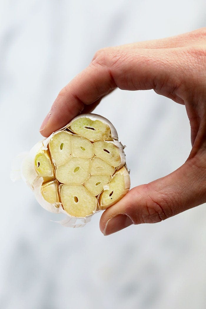 fresh garlic bulb with the cloves trimmed