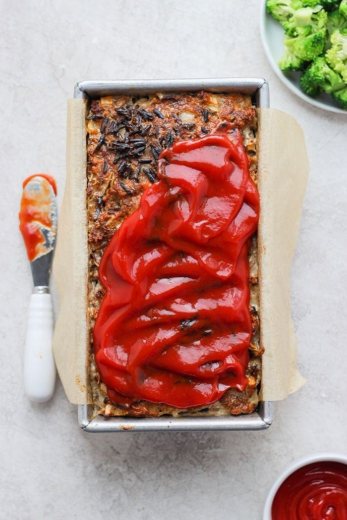 wild rice meatloaf in a loaf pan