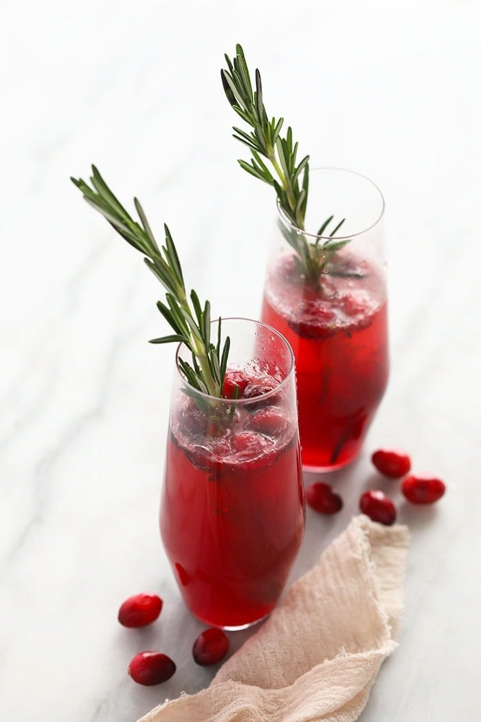 Cranberry Mojitos in a glass