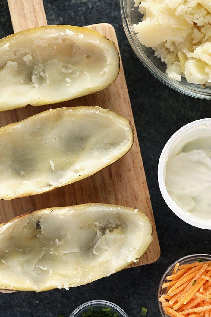 twice baked potatoes ready to be stuffed