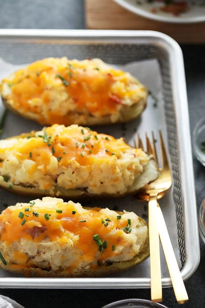 twice baked potatoes ready to be served