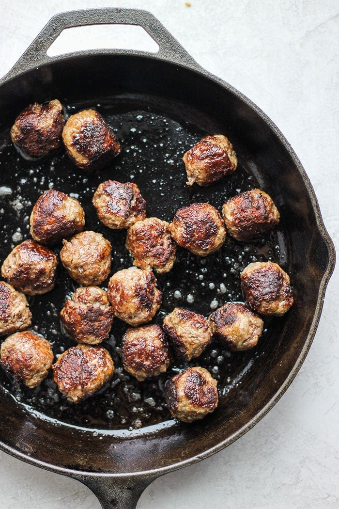 Italian meatballs in cast iron skillet