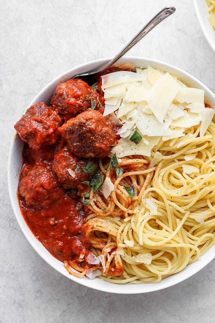 bowl of meatballs with spaghetti