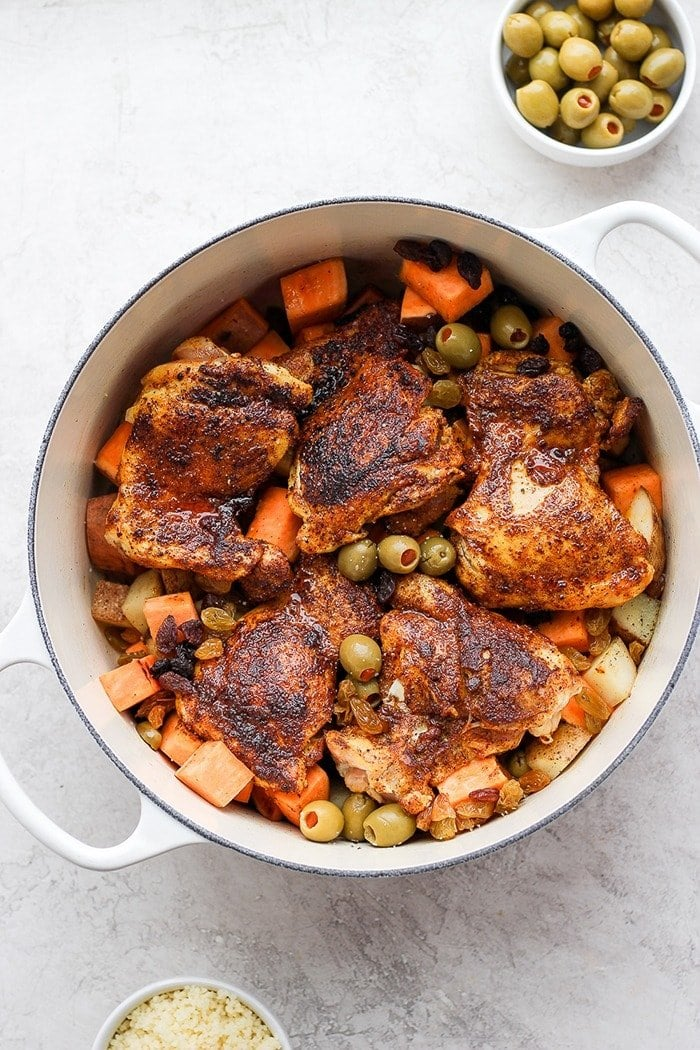 Moroccan chicken in a dutch oven