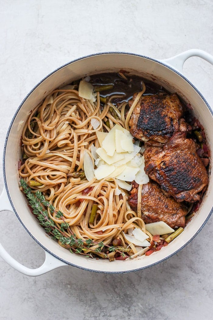 Balsamic Roasted Chicken with pasta