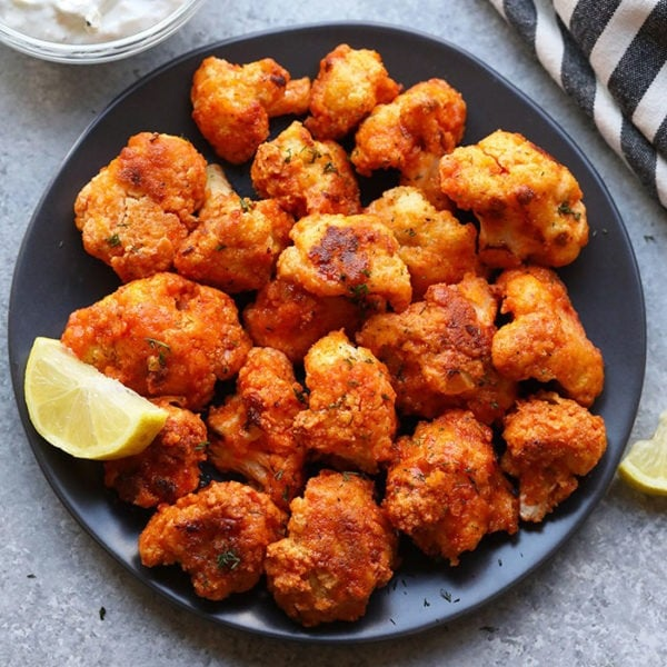 cauliflower wings on plate