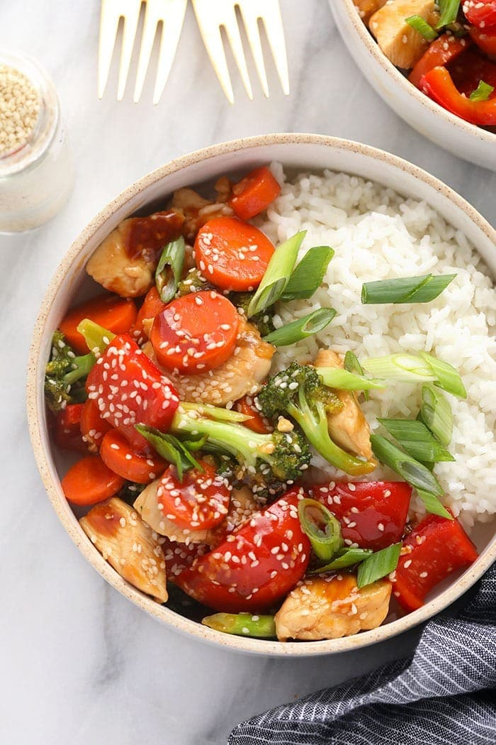 Chicken teriyaki and white rice in a bowl